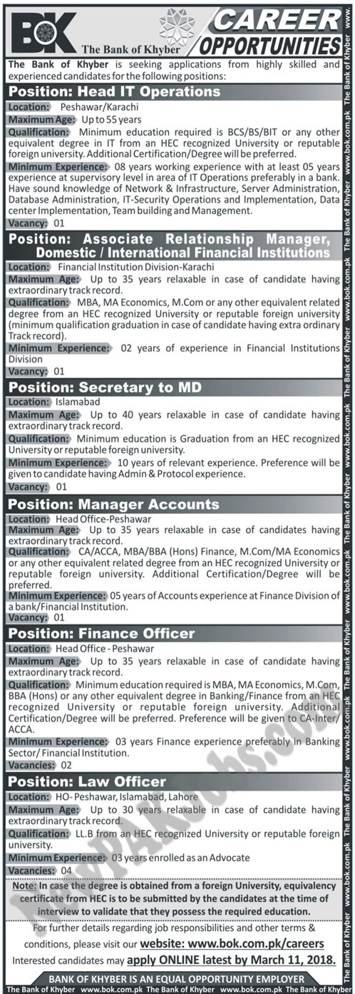 Bok Bank of Khyber Latest Today Jobs 26 Feb 2018
