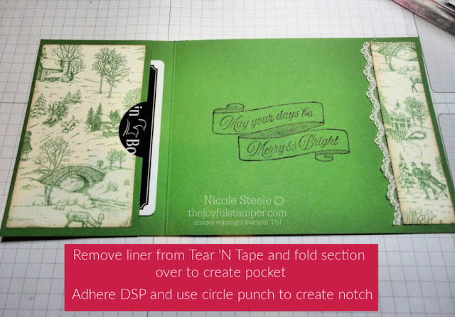 a2 sized pocket gift card holder with Stampin' Up!'s Toile Tidings stamp set and designer series paper