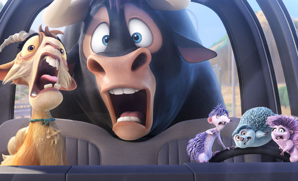 Ferdinand (voiced by John Cena) and his gang caught in the elaborate car chase moment in FERDINAND (2017)