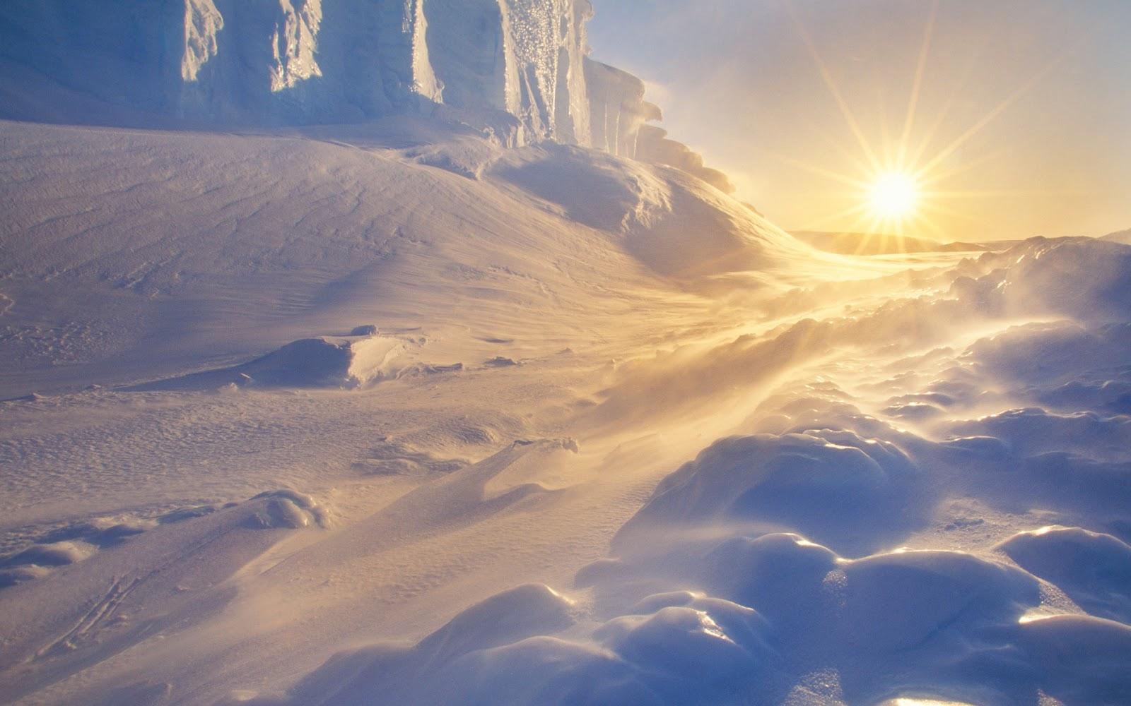 Sol visto apenas de uma extremidade da Antártida