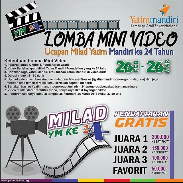Lomba Membuat Mini Video Ucapan Milad Yatim Mandiri 2018