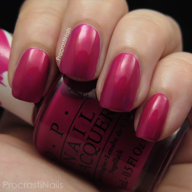 Swatch of OPI Pen & Pink which is a bright pink jelly polish