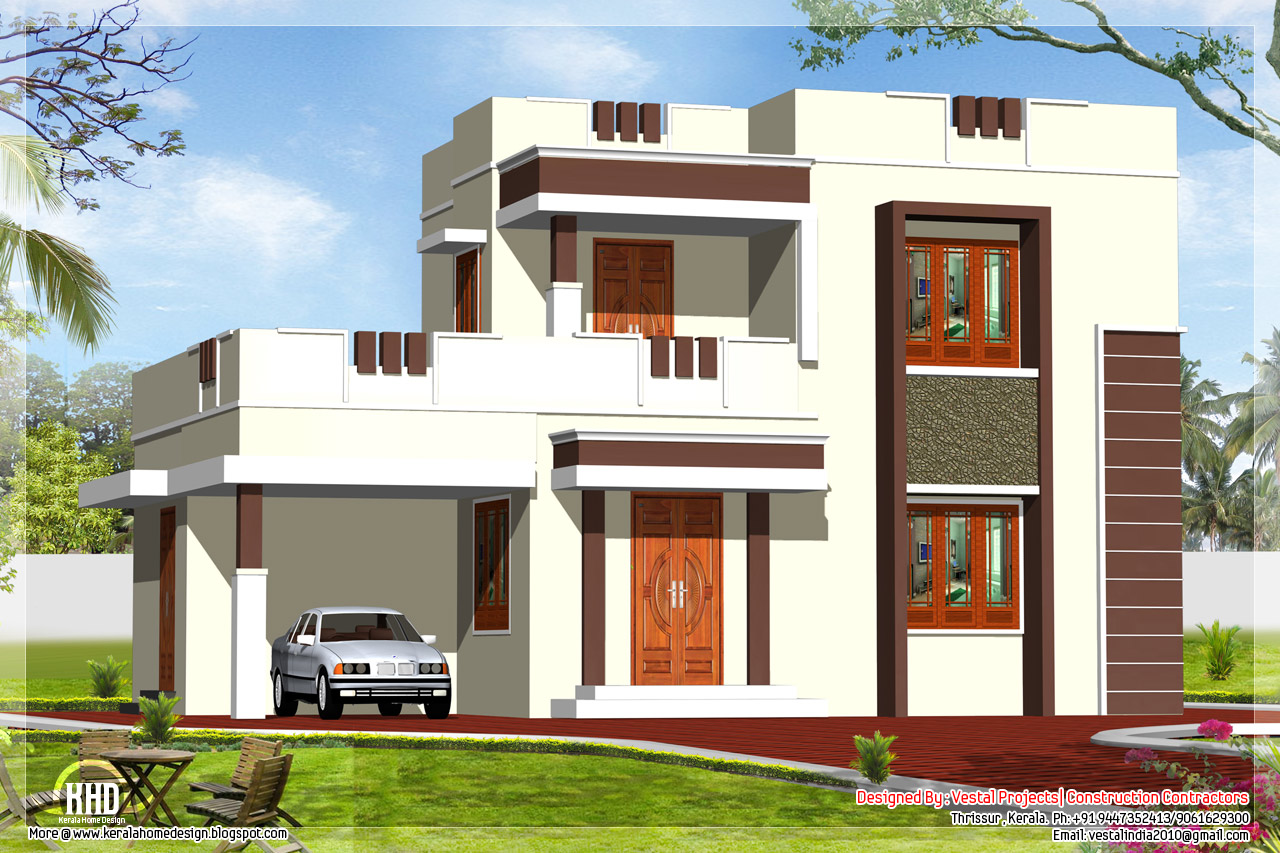 1400 square feet flat roof home design kerala house for Flat roof elevation
