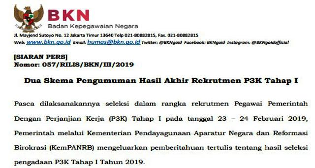 Dua Skema Pengumuman Hasil Akhir Rekrutmen P3K Tahap I [SIARAN PERS] Nomor: 057/RILIS/BKN/III/2019