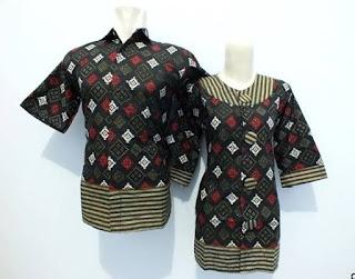 Baju kemeja couple motif batik untung pasangan muda