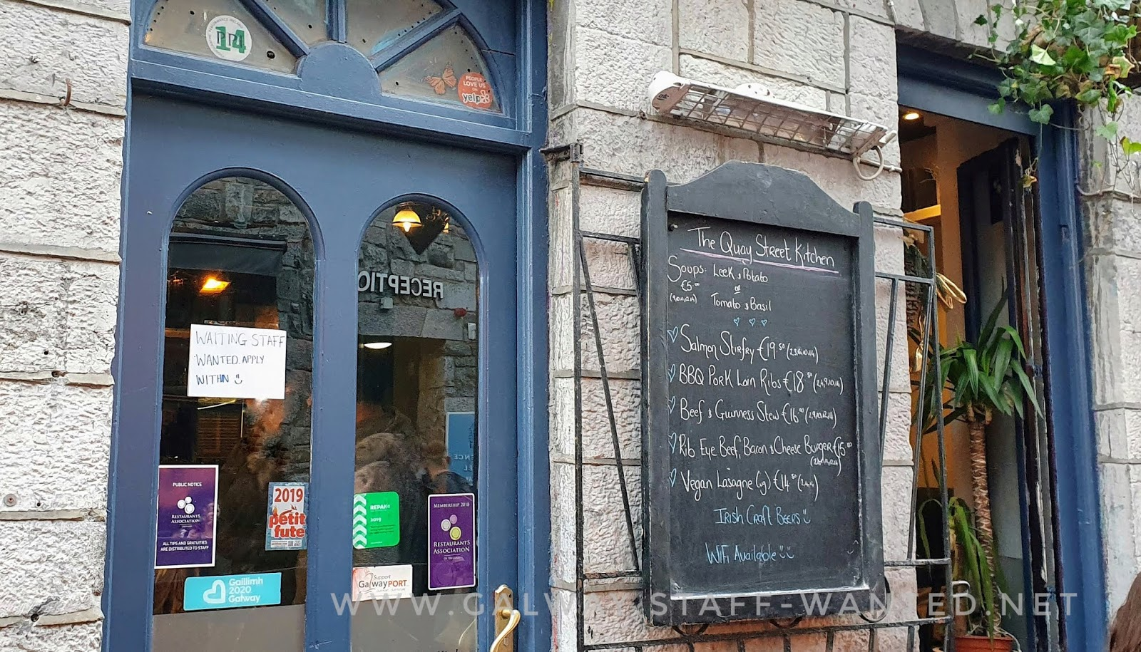 includes a chalkboard menu outside a deceptively-good Galway city restaurant