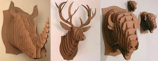 cabezas de animales hechas con cartón
