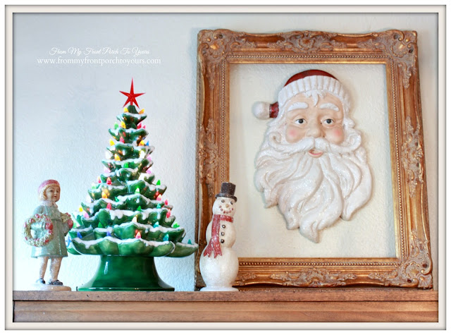 Farmhouse Christmas Kitchen-Breakfast Nook-Christmas Vignette-Gold Frame-Binate Ceramic Christmas Tree With Lights-From My Front Porch To Yours