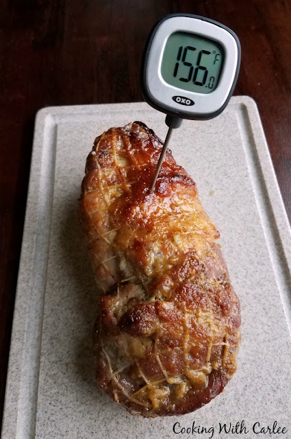 thermometer in pork loin reading 156 F