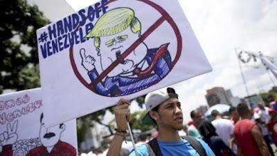 Protesto contra bloqueio econômico na Venezuela