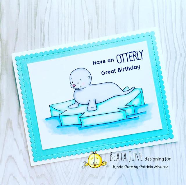 Birthday card using a baby seal digital stampby Kinda Cute by Patricia Alvarez