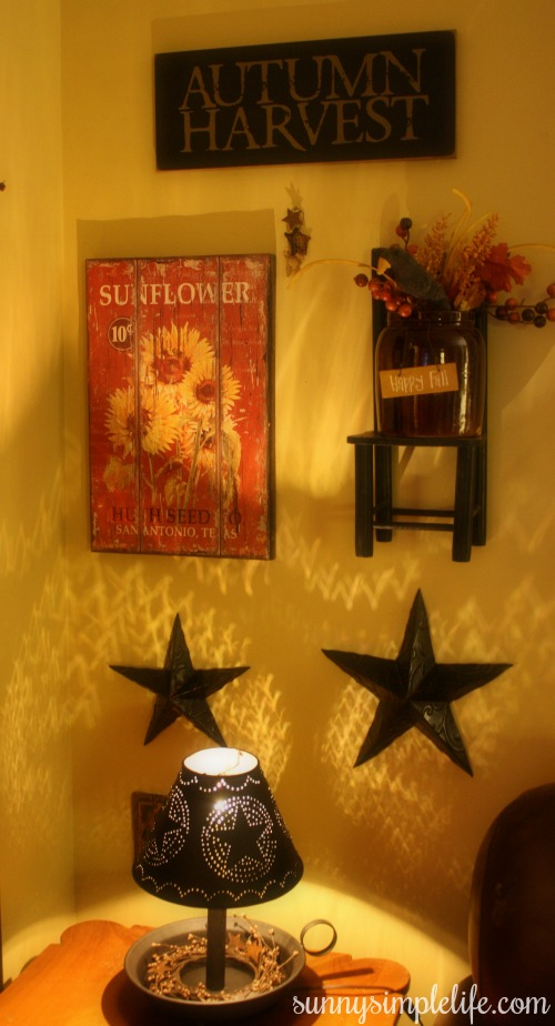 sunflower wood sign, hanging crock, autumn sign