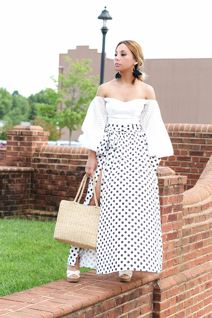 Bell sleeves and polka dot split skirt outfit