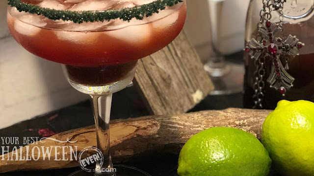 vampire's kiss margarita, black cherry margarita recipe, Halloween cocktail