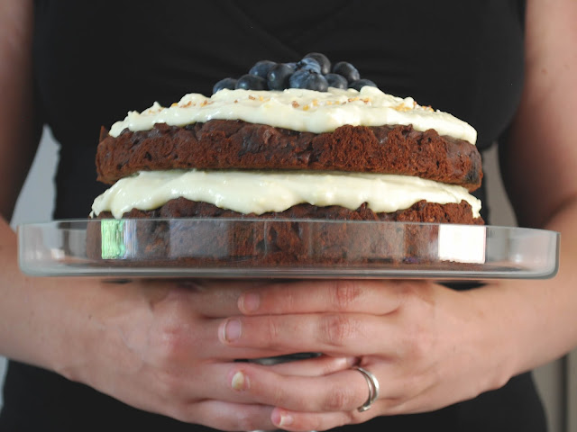 homemade chocolate carrot cake recipe on cakestand