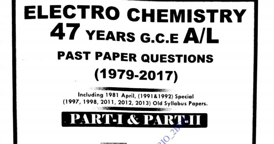 CHEMISTRY_ Electro Chemistry_ Past Question Collection