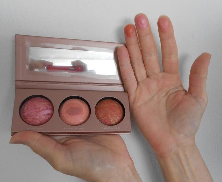 Laura Geller Just Blushing Palette Baked Blush Trio and swatches