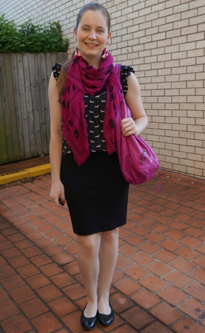 alexander mcqueen roses skull scarf and magenta balenciaga day bag dog print top and pencil skirt | awayfromblue