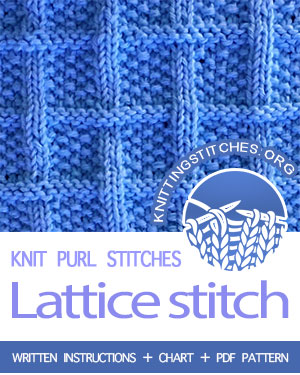 KNIT and PURL Stitches. #howtoknit the Lattice With Seed Stitch stitch. FREE written instructions, Chart, PDF knitting pattern.  #knittingstitches #knitting #knitpurl