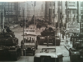 U.S. tanks facing off against Soviet Union tanks at Checkpoint Charlie in Berlin, 1961