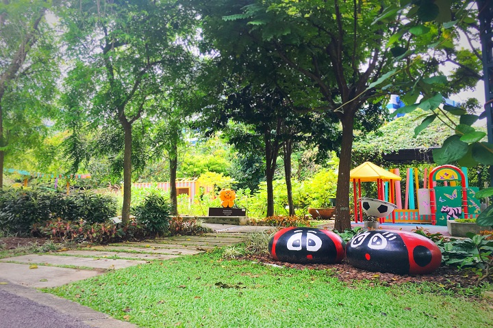 The Nature Playgarden's design capitalises on natural terrain and about 99 per cent of the 0.35 ha area is made out of recycled material, cutting down on construction costs.