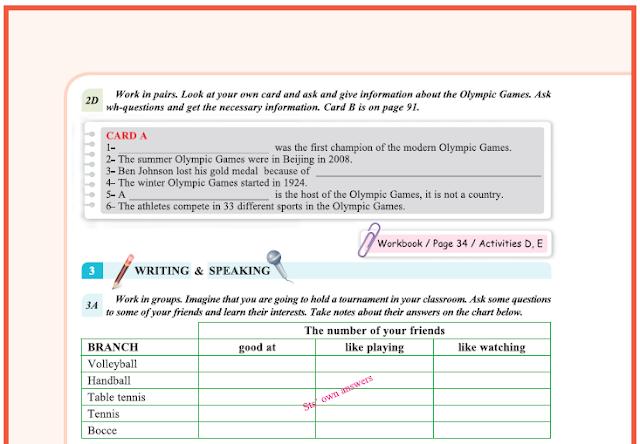 9. Sınıf Yıldırım Yayınları İngilizce A1.2 Ders Kitabı 58. Sayfa Cevapları Theme 4 Sports