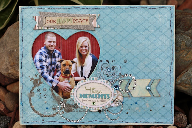 Our Happy Place Altered Frame featuring Garden Journal collection and That's Life Wood Shapes by BoBunny designed by Rhonda Van Ginkel