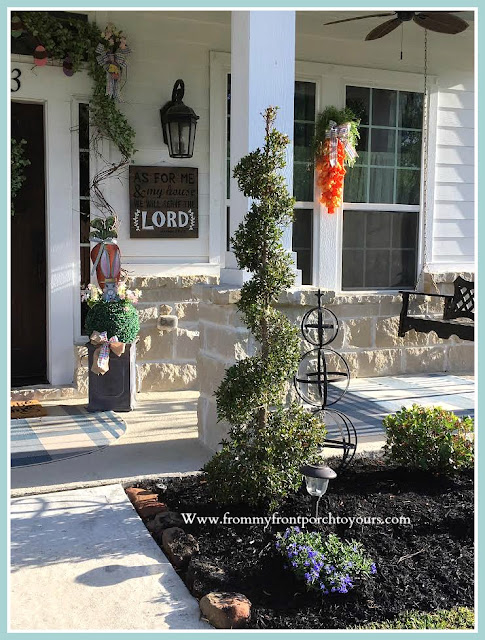 Spring Easter Front Porch-DIY-Landscape-Curb Appeal-Porch Decor-From My Front Porch To Yours