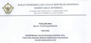 Lowongan Penerimaan CPNS Badan Pemeriksa Keuangan Tahun Anggaran 2018 [502 Formasi]
