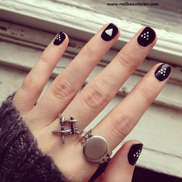 cute black nail art