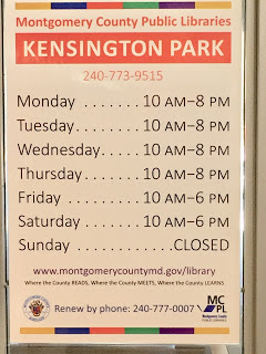 Vertical list of Kensington Park Library hours by day of the week.
