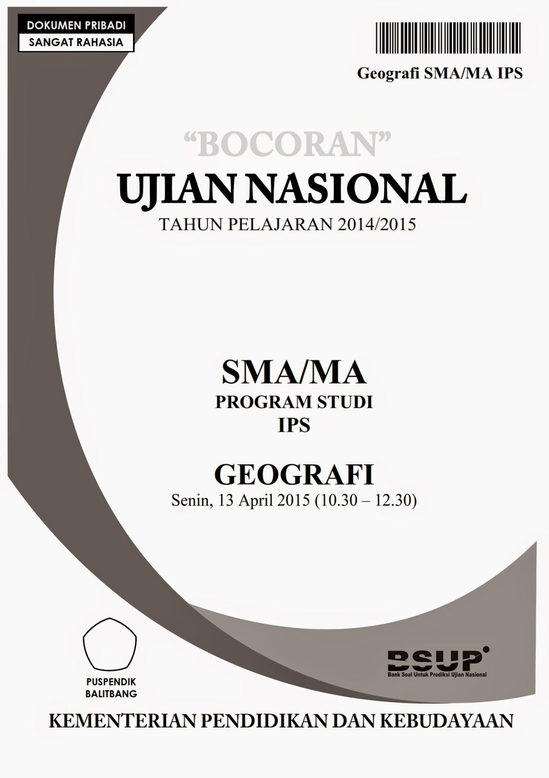 Berbagi Dan Belajar Quot Bocoran Quot Soal Un Geografi Sma 2015