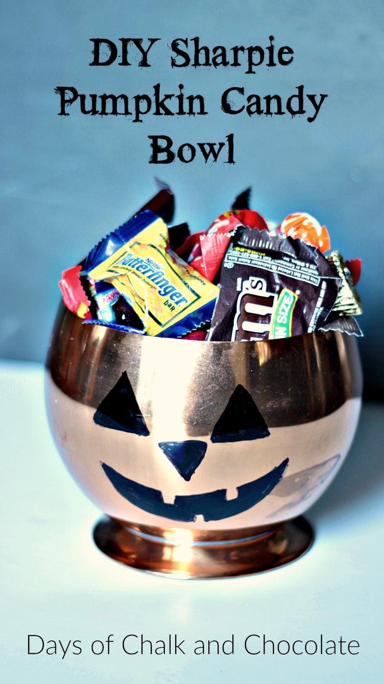 Diy Sharpie Pumpkin Candy Bowl Halloween Craft Days Of Chalk And