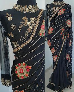 black_partywear_saree_nepal