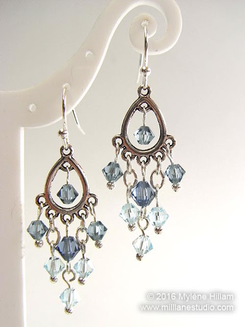 Silver teardrop chandelier finding draped with icy blue Swarovski bicone crystals