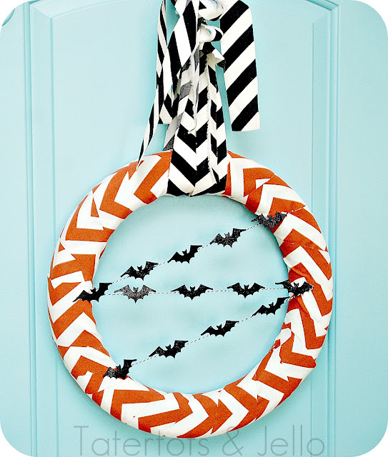 Chevron Halloween Wreath - Tatertots & Jello