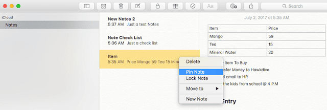 New features of Notes in macOS High Sierra