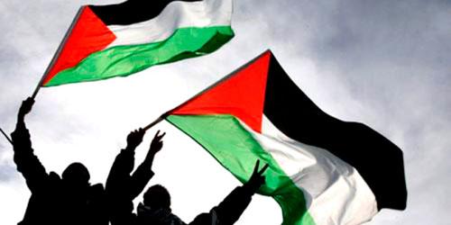 banderas palestinas ondeadas al viento