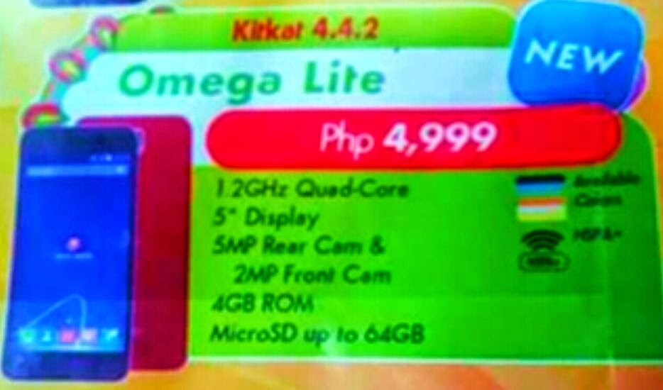 Cherry Mobile Omega Lite, 5-inch Quad Core for Php4,999