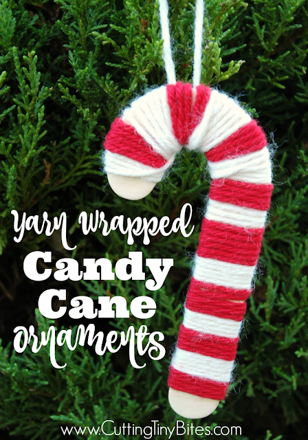 Yarn wrapped candy canes- Christmas ornament craft for kids. Cheery red and white stripes, and perfect for developing fine motor skills in preschoolers or elementary children!