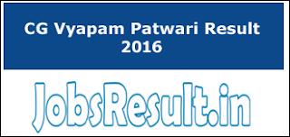CG Vyapam Patwari Result 2016