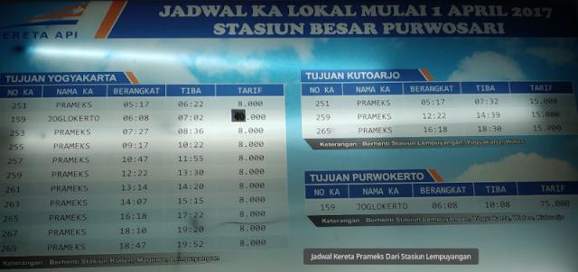 Jadwal Kereta Prameks Dari Stasiun Purwosari