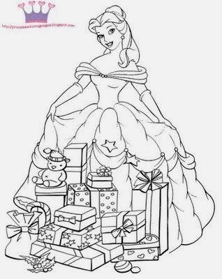 7 Disney Princess Christmas Coloring Pages