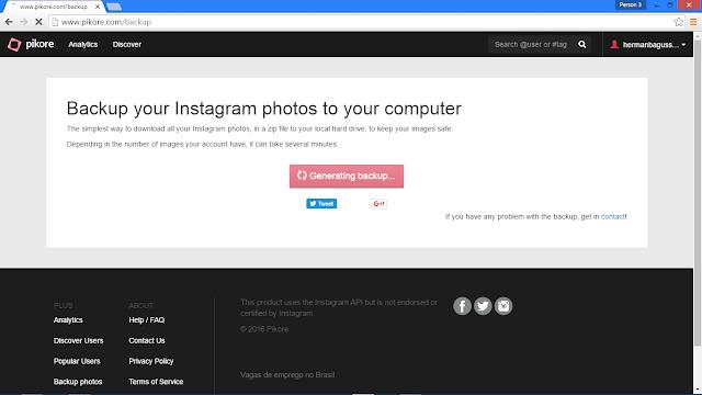 Cara Backup (Download) Semua Foto Kita yang Ada di Instagram Hermanbagus generating backup