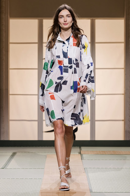 H&M Studio SS2018 - printed dress - Andrea Diaconu