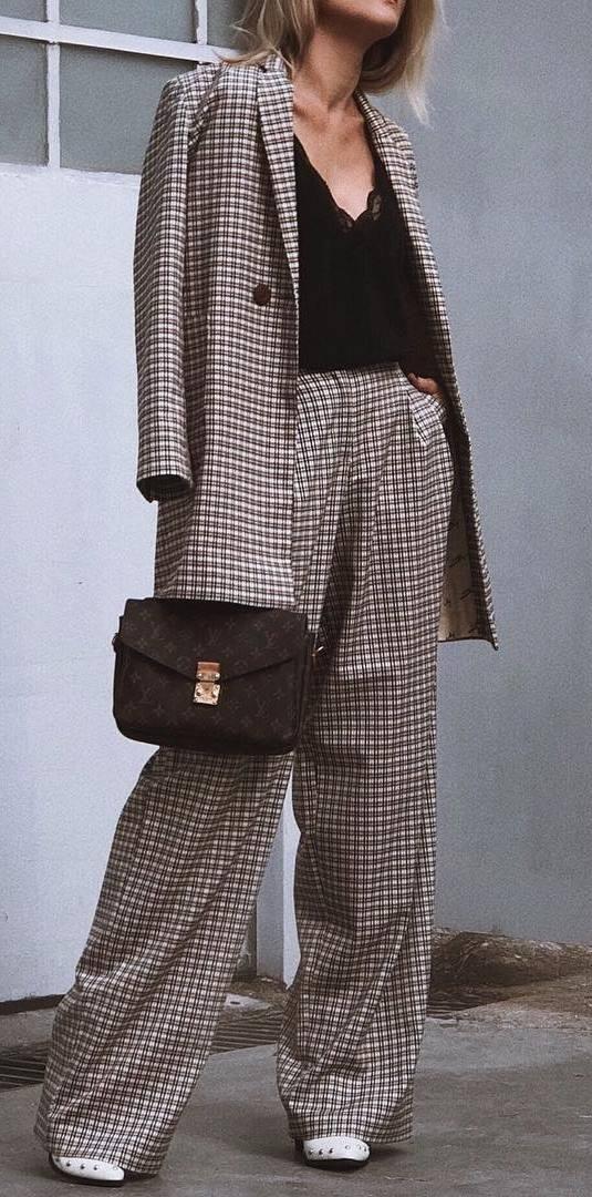 ootd | plaid suit + bag + top + sneakers