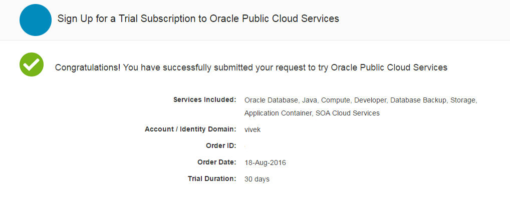 SOA Cloud Service Registration Success