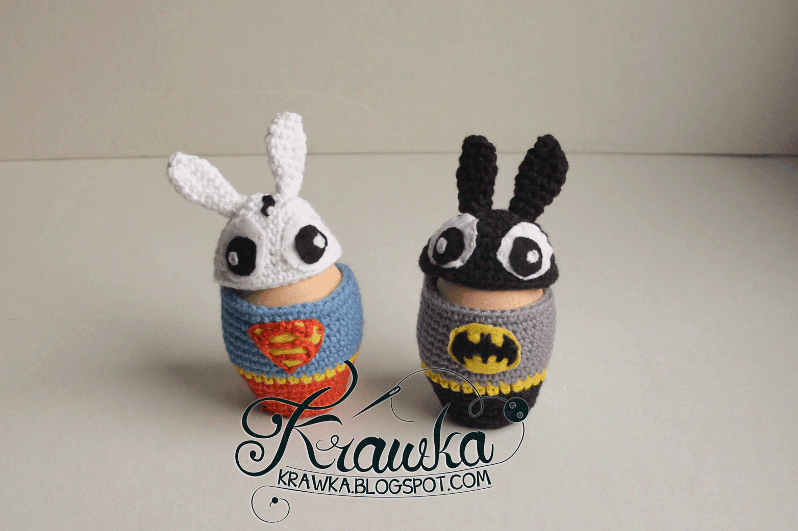 Krawka: Super bunnys Superbunny and Bunnyman inspired by Batman and Superman - Easter egg cozies - Free crochet Pattern to make it yourself