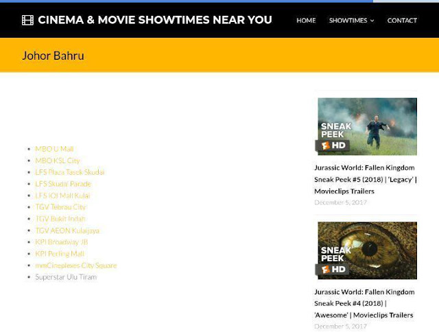 Showtimes2u.com website Movie Trailers Terkini di Pawagam