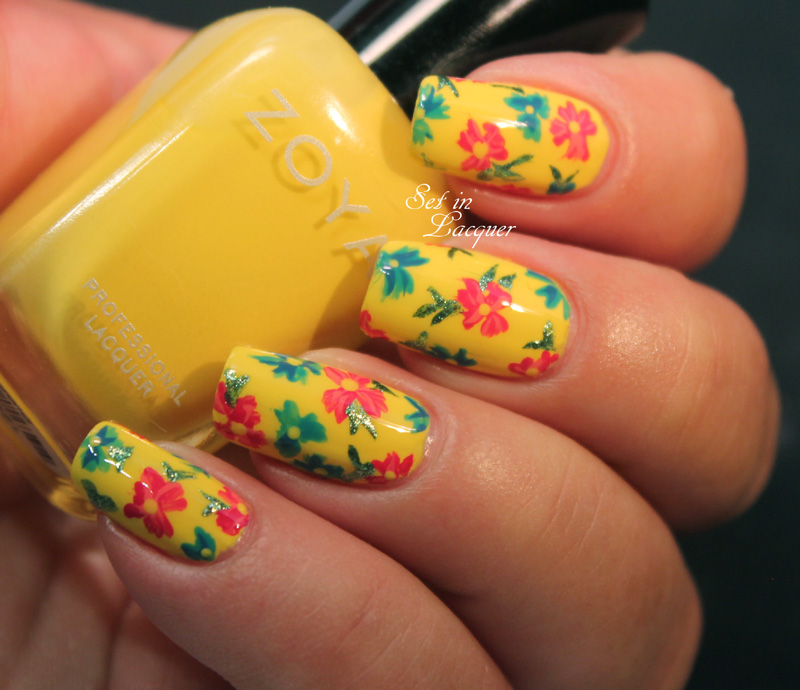 Sassy yellow flower garden nail art - Set in Lacquer